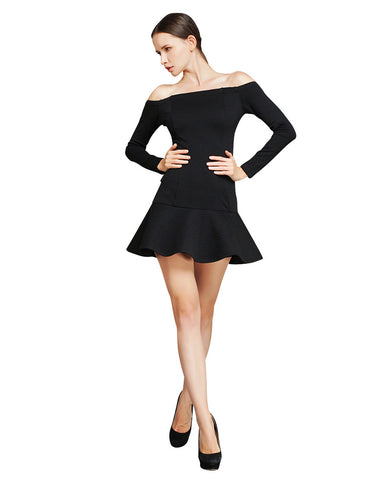 Boat Neck Flounce Dress - Black