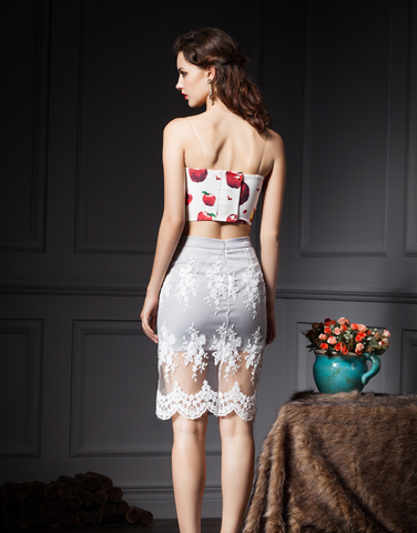 White Lace Overlay Midi Skirt