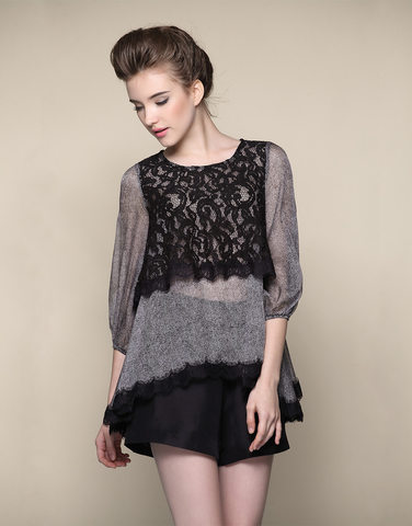 Silk Top with Black Lace Tank