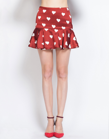 Heart Print Flared Skirt
