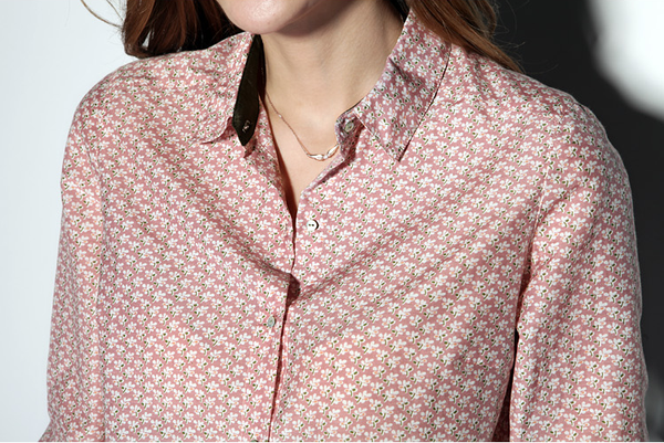 Silk & Cotton Blend Floral Print Shirt in Pink
