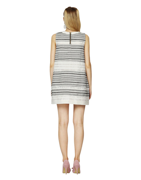 Black and White Jacquard Cocoon Shift Dress