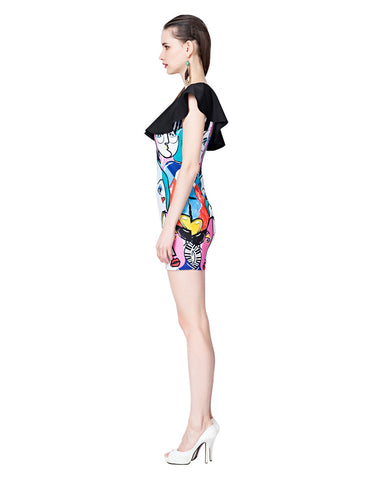 Black Mesh Shoulder Abstract Print Dress