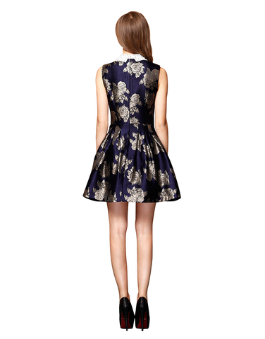 Floral Embroidered Satin Dress With Beaded Lapel - Silver