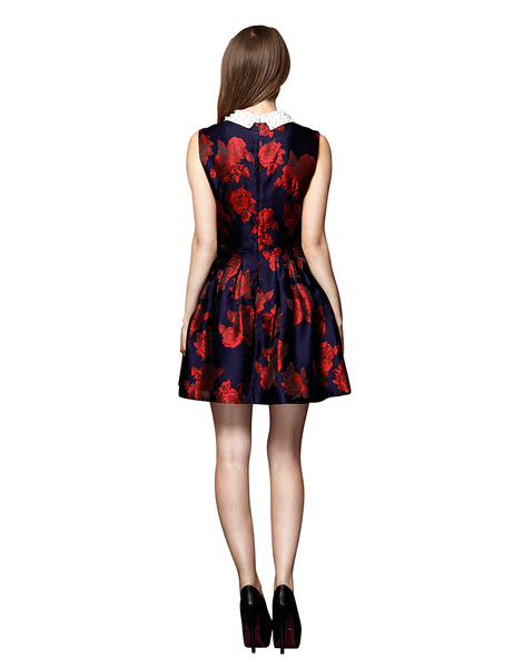 Floral Embroidered Satin Dress With Beaded Lapel - Red