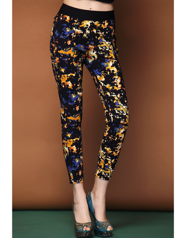 Abstract Print Stretch Pant - Golden & Purple