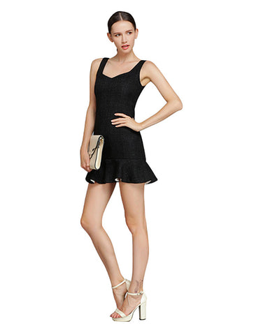 Sleeveless Flounce Dress - Black