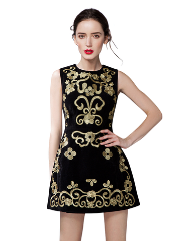 Embroidered Velvet Sleeveless Dress