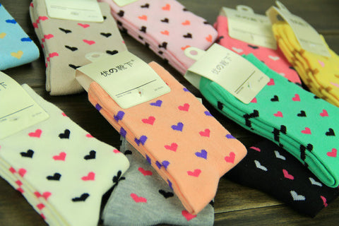 Ladies Cotton Rich Heart Design Socks