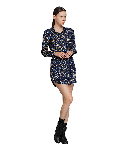 Long Sleeves Stone Print Shirt Dress