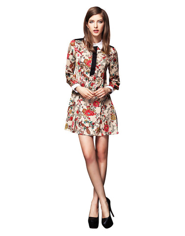 Vintage Floral Print Long Sleeve Dress - Beige