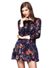 Vintage Floral Print Long Sleeve Dress - Blue