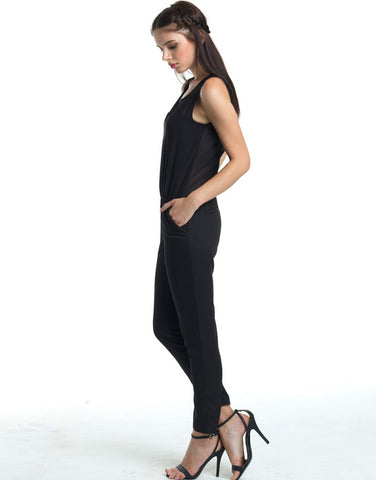 Black Mesh Back Jumpsuit