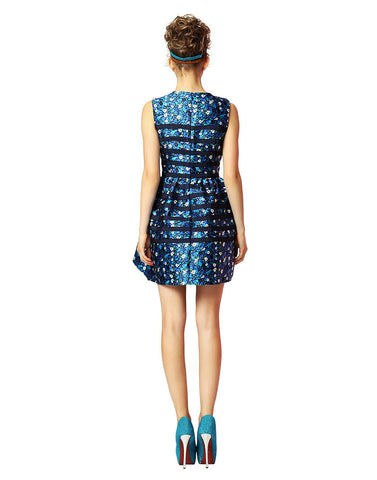 Spliced Jacquard Dress – Blue