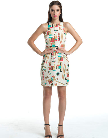 Chicihi Abstract Scoop Neck Sun Dress