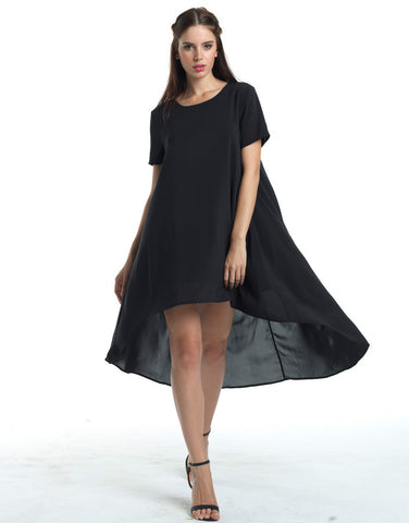 Flirty Hi-Lo Tent Dress - Black