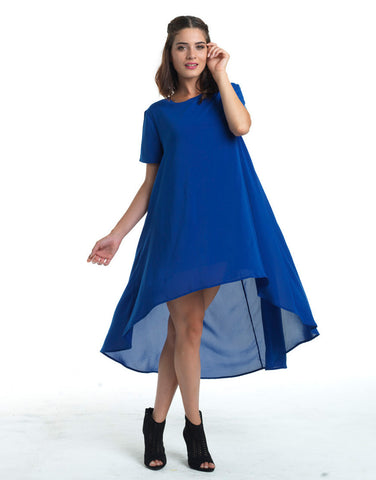 Flirty Hi-Lo Tent Dress - Blue