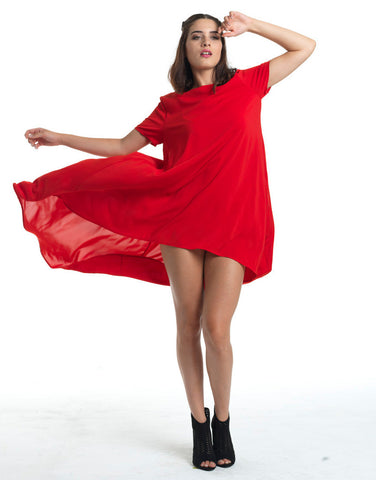 Flirty Hi-Lo Tent Dress - Red