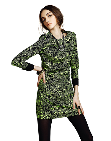 Cropped-Sleeve Print Dress in Green
