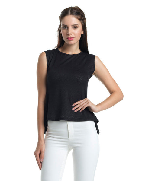 Light Ruffle Peplum Top - Black