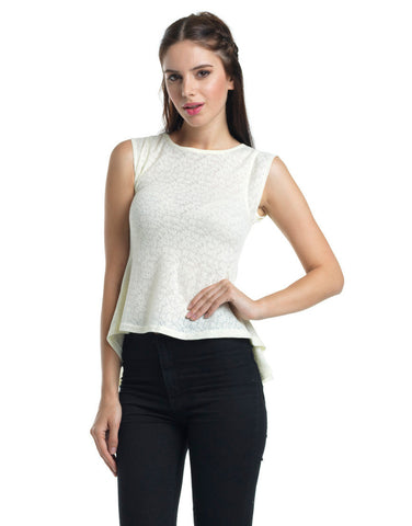 Light Ruffle Peplum Top - Ivory