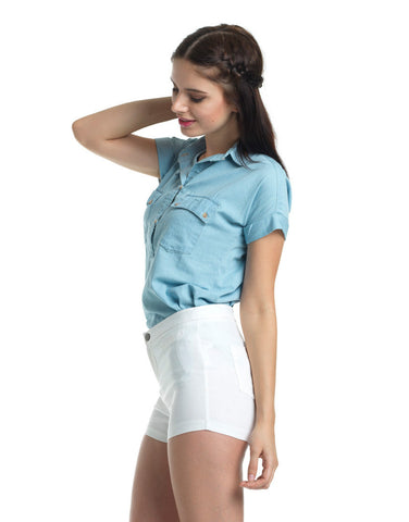 Loose and Lax Short Sleeve Denim Shirt