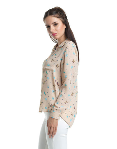 Morning Birds Peach Button Up Blouse