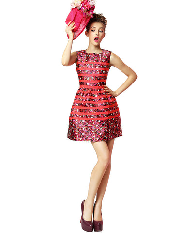 Spliced Jacquard Dress – Red