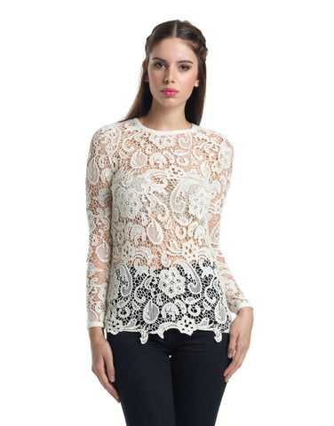 Slim Fit Long-Sleeve Crochet Top - Ivory