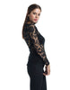 Slim Fit Long-Sleeve Crochet Top - Black