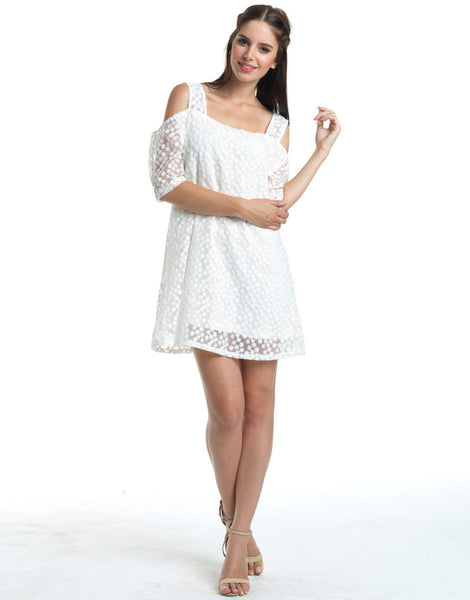 Snowy White Eyelet Tent Dress