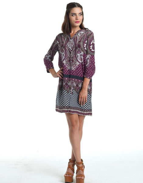 Totem Print Shift Dress