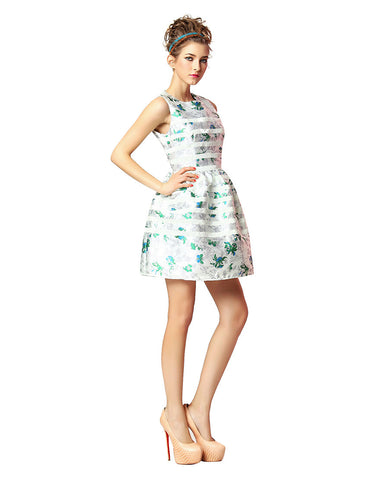 Spliced Jacquard Dress - White