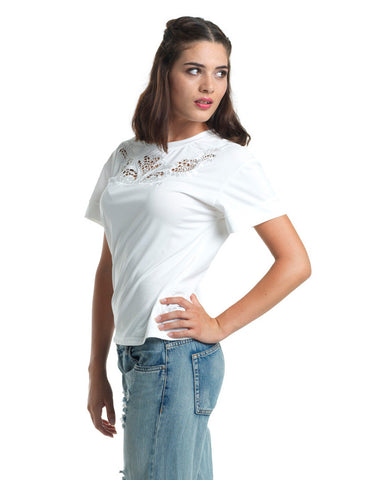 White Swan Crochet T-shirt