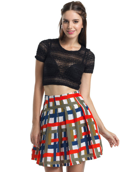 Wildly Checkered Pleated A-Line Skirt