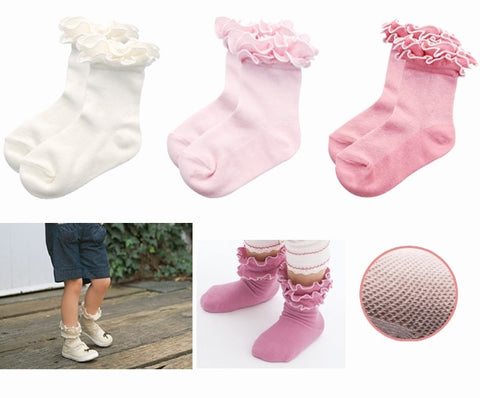 Three Pack Girls Frilly Socks (2-5 Years)
