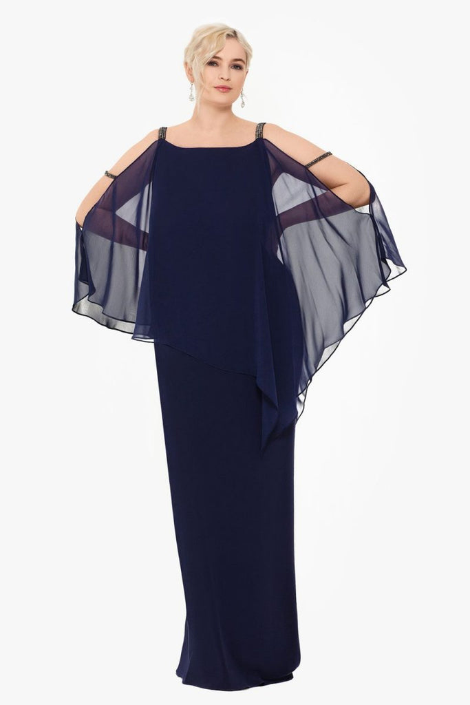 Cut-Out Chiffon Capelet Gown
