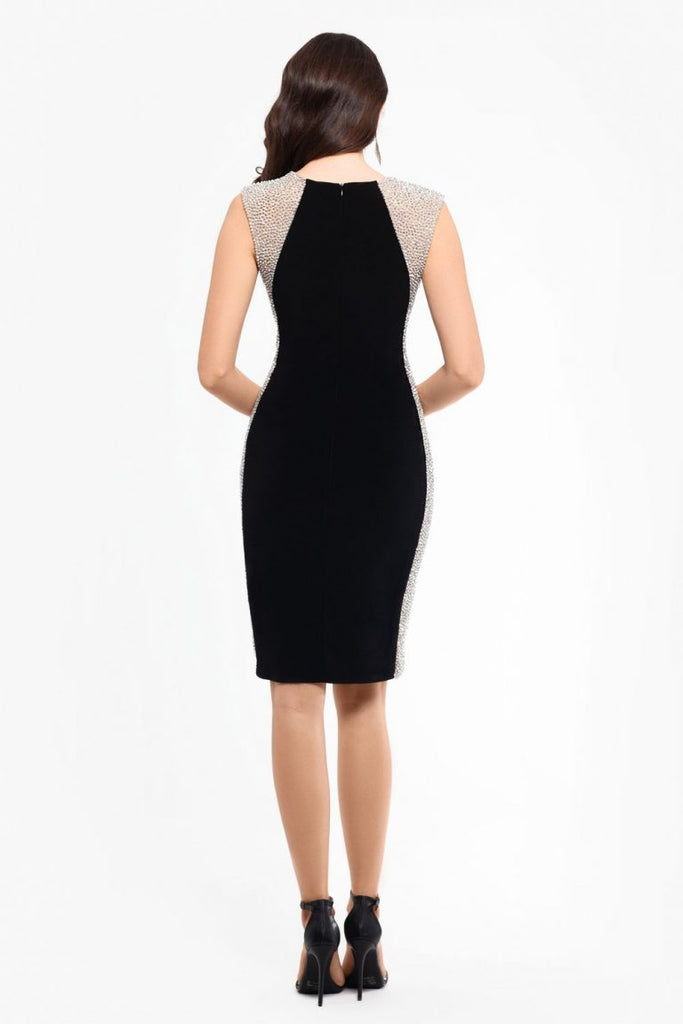 Caviar Bead Embellished Sheath Dress
