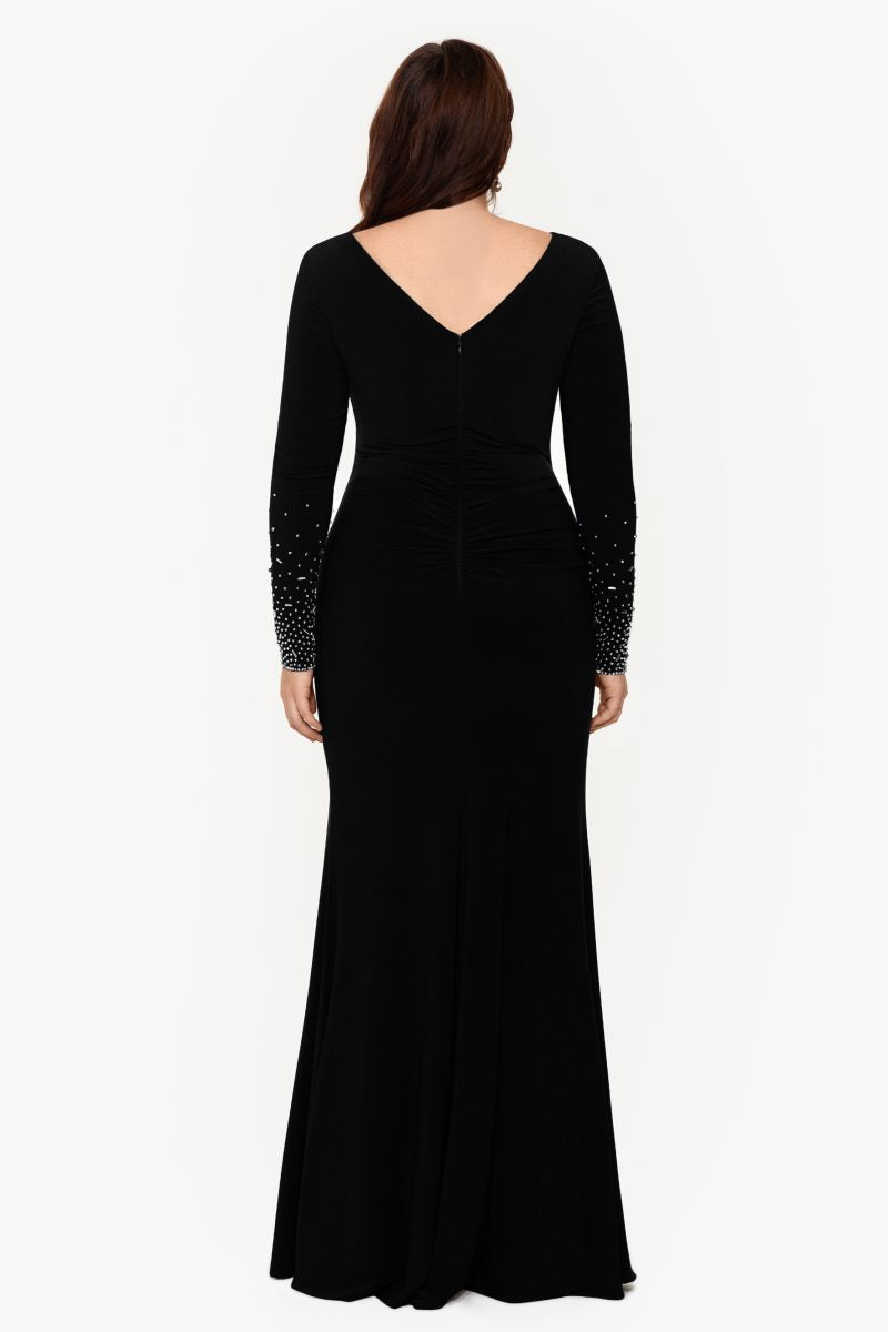 Long ITY Beaded Sleeve With Front Slit