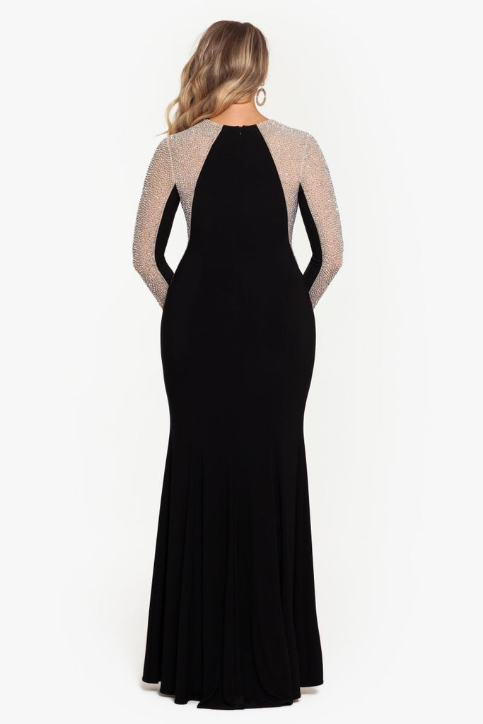 Plus Sweetheart Neck Long ITY Caviar Beaded Dress