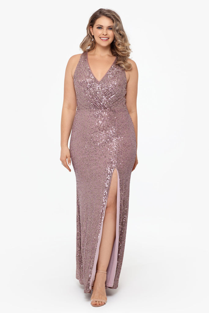 Long V-Neck Halter Sequin With Slit Plus Size
