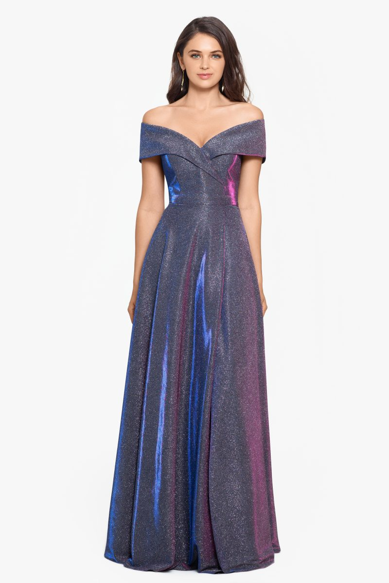 Willow Off-The-Shoulder Long Glitter Dress