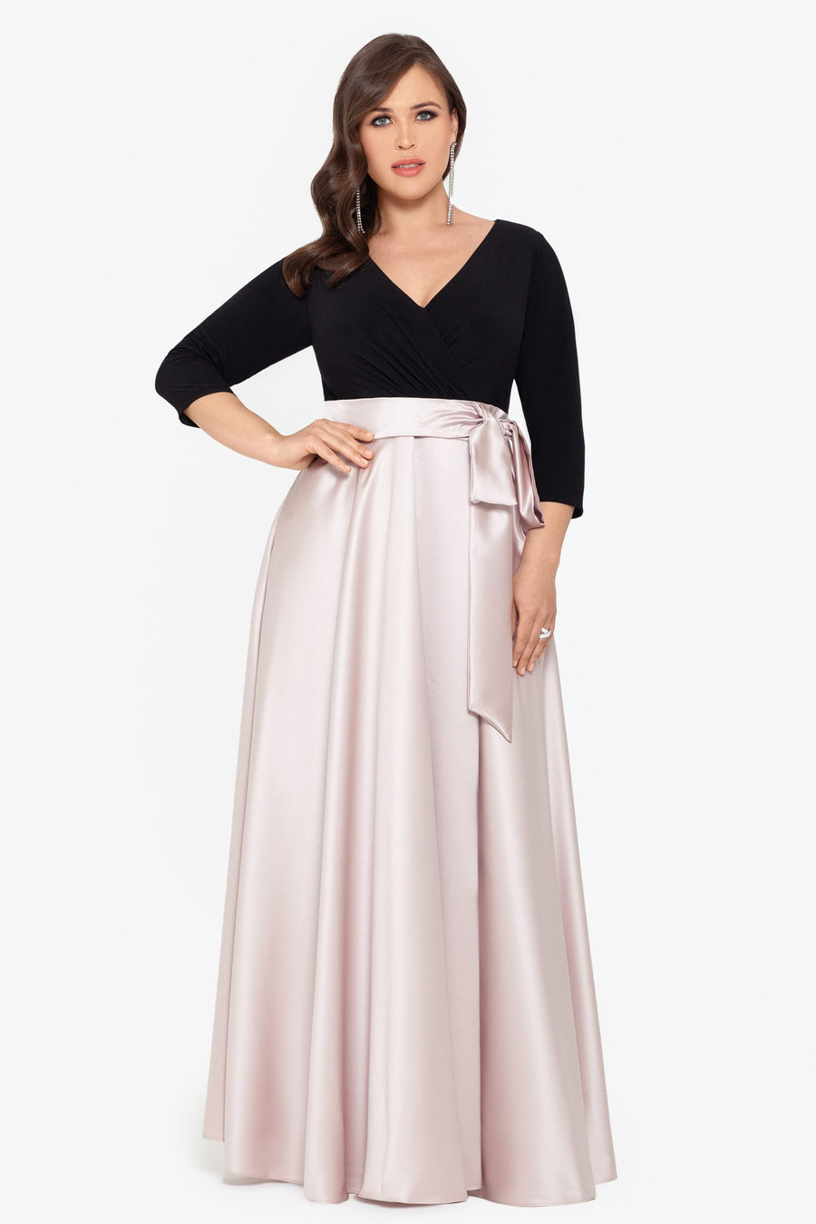 Selena Long Satin Skirt ITY Top With Long Sleeve