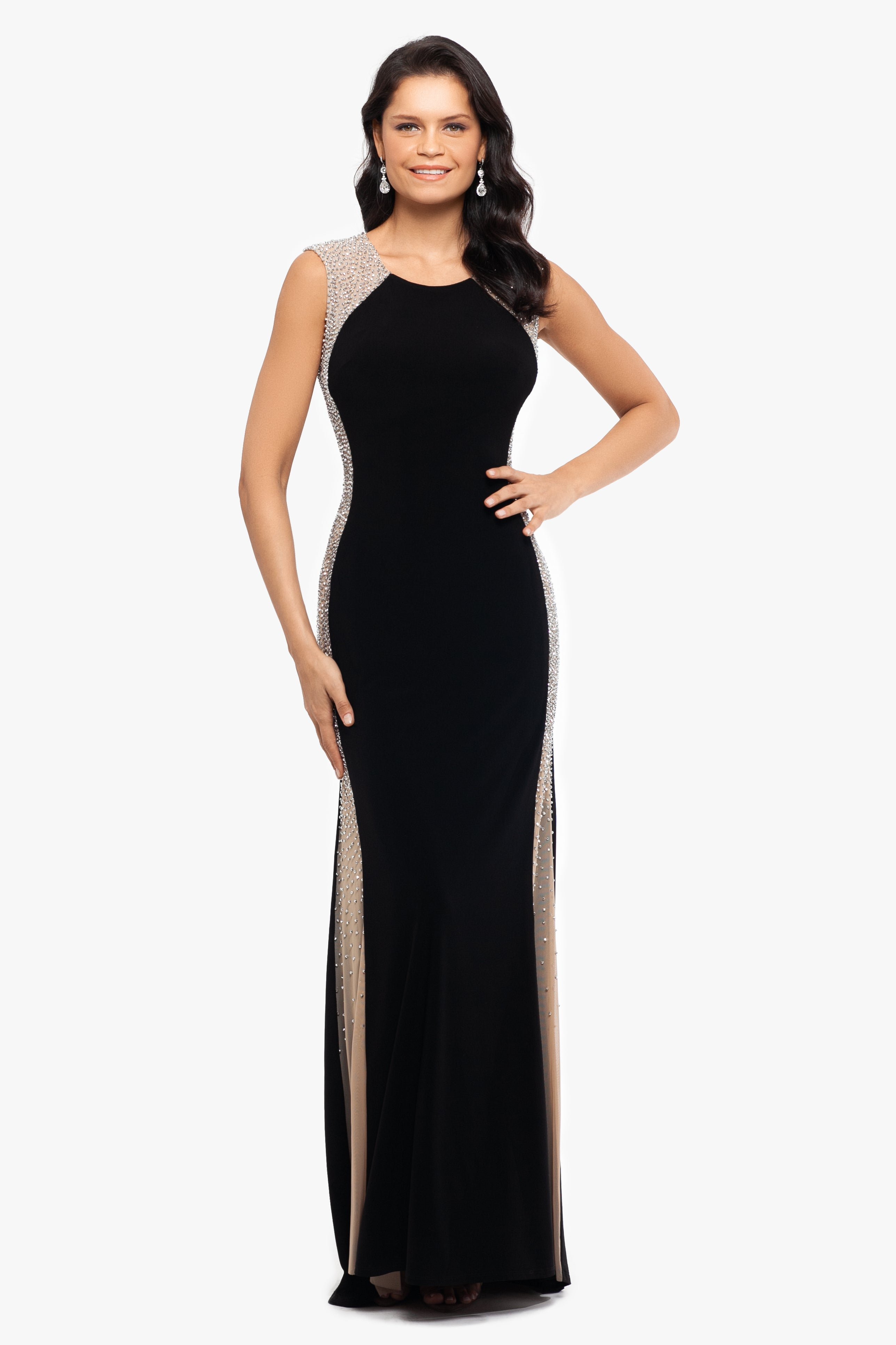 Caviar Bead Embellished Gown