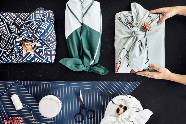 A variety of cloths for sustainable gift wrapping