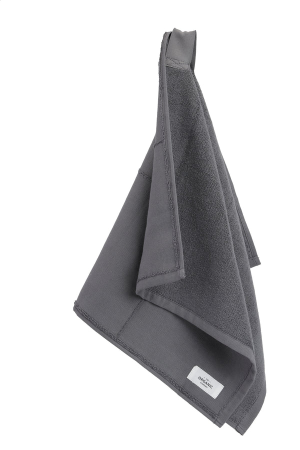 grey towel hanging