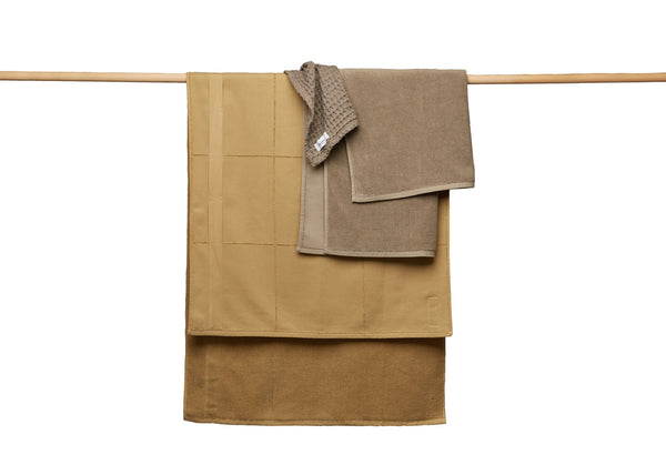 Brown towels hanging