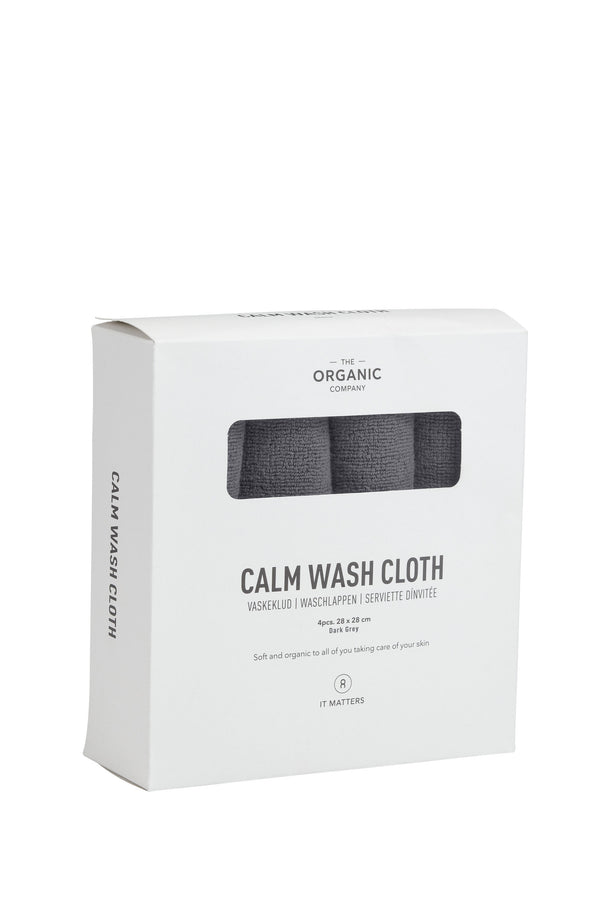 Dark grey gots certified organic wash cloths in a four pieces box
