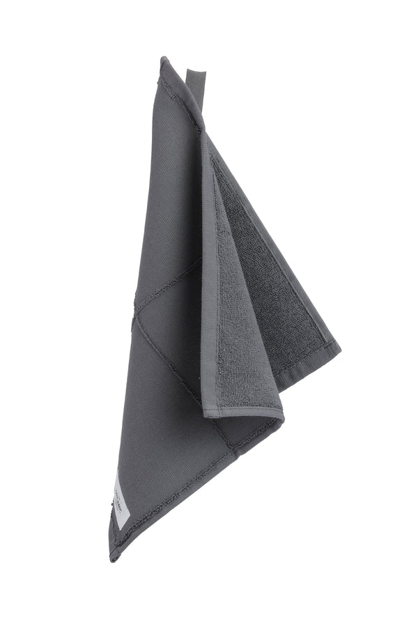 Dark grey gots certified organic wash cloth displayed hanging
