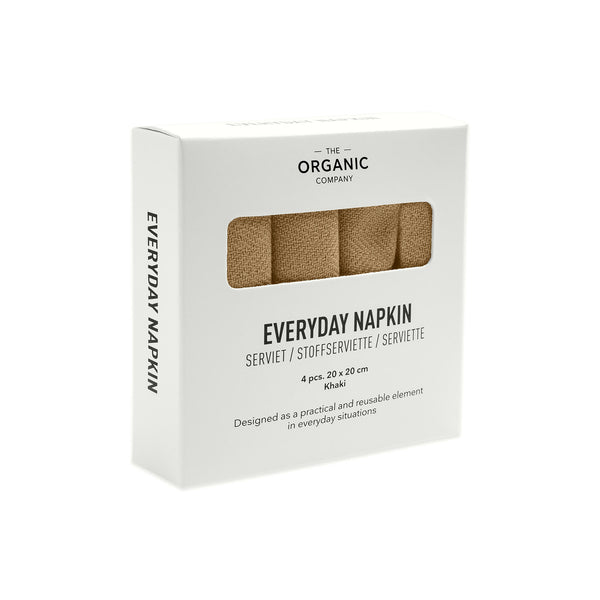 Khaki gots certified organic reusable napkins for everyday use in four pieces box